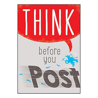 "Think Before You Post Argus Poster, 13.375"" X 19"""