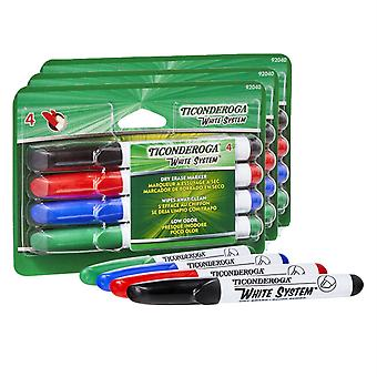 Dry Erase Markers, Chisel Tip, 4 Assorted Colors Per Pack, 3 Packs
