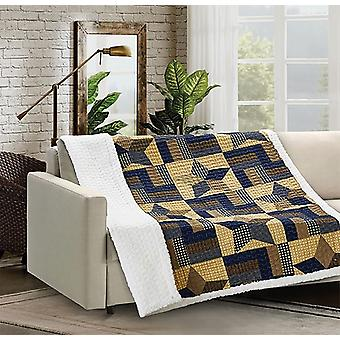 Spura Home Woodland Star Blue Quilted Sherpa Throw Blanket sofa Bed