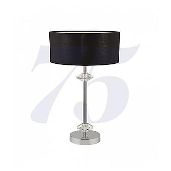 New Orleans 1-light Chrome Table Lamp With Black Shade / Silver Interior