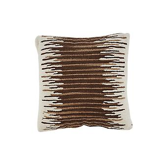 Oreiller accent de coton 20 x 20 avec texture nubby, ensemble de 4, crème et brun