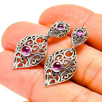 "Amethyst Earrings 1 1/4"" (925 Sterling Silver)  - Handmade Boho Vintage Jewelry EARR411095"