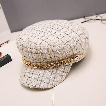 Autumn Winter Chain Wool Berets Military Cap
