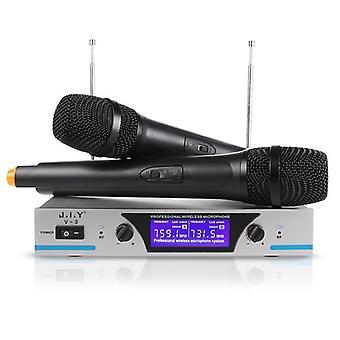 Handheld Wireless Microphone Karaoke Player Home Echo Mixer System