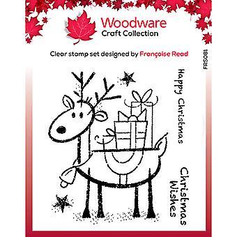 Woodware Clear Singles Rudolph Pressies 4 en x 4 dans Stamp