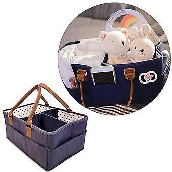 Caddy Organizer Comfy Carry Nursery Bin - Unisex Navy Blue Portable Baby Diaper