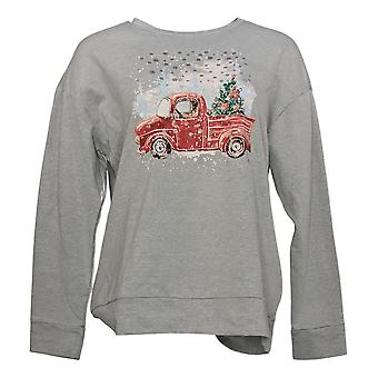 Ellen Tracy Women's Top Soft French Terry Fabrick Long Sleeve Print Gray