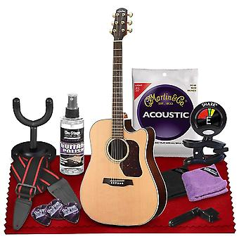 Walden d600ce natura dreadnought acoustic cutaway-electric guitar with sitka top and rosewood fingerboard  bundle includes gig bag, ps49895