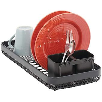 mDesign Dish Drainer with Removable Cutlery Basket  ; Dishes Rack for Kitchen Countertop