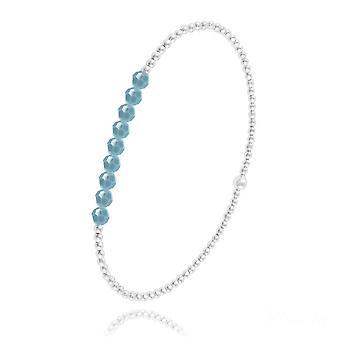 Turquoise kralen zilveren armband met swarovski kristal