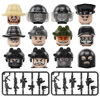 12pcs Swat Military Figure Headset Weapon Black Ghost Soldier Face Toy