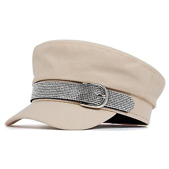 New Big Buckle Style Beret With Diamond Hip Hop Caps Autumn Winter Models Trend