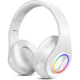 Bezprzewodowe słuchawki Bluetooth, słuchawki nauszne Bluetooth Hi-FI Cvc6.0 Składane słuchawki z wbudowanym mikrofonem TF FM Wired Rgb Mode for Iphone Mobile IPAD Android Pc-White