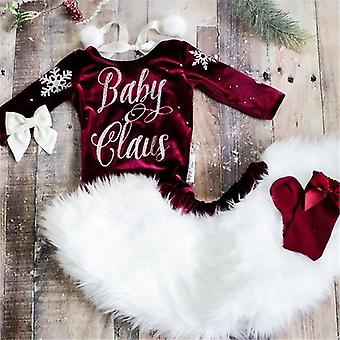 Baby Christmas Clothing, Long Sleeve Letter Print Romper Skirts