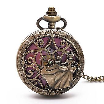 Retro Steampunk Güzel Prenses Kuvars Cep Saatleri
