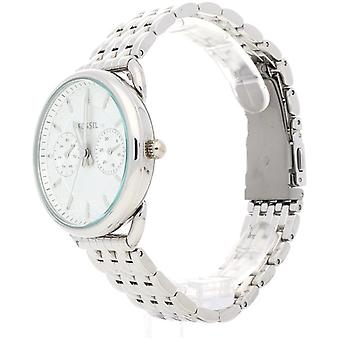Fossil Tailor ES3712, analog watch White stainless steel, Plated