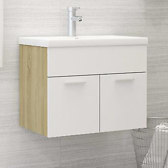 vidaXL Waschbeckenunterschrank Weiß und Sonoma 60x38,5x46 cm Spanplatte