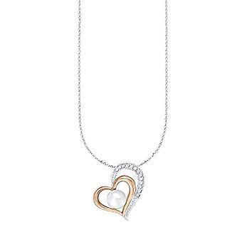 Amor Kvinnors halsband, 45 cm, med hjärtformat hänge, i silver 925 delvis pläterat i roséguld, med Ref zirkoner. 4056866030213