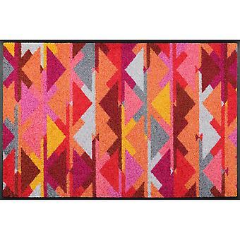 Karim Geometric Kelim Washable Floor Mats In Multicolour