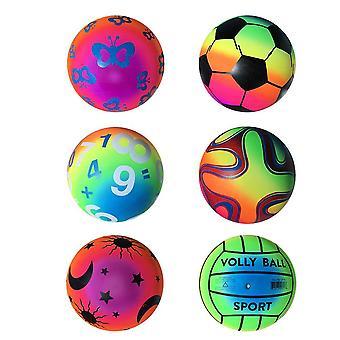 5 ks 22 cm zahustené dúhové gule Elastické Pvc Beach Sports Play Ball Kickball Flaball Lopta Detská hra pre aktivity na vnútornom vonkajšom ihrisku (r