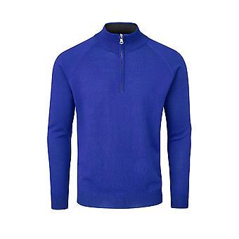 Oscar Jacobson Mens Merino Zip Neck Sweater Jumper Pullover Top