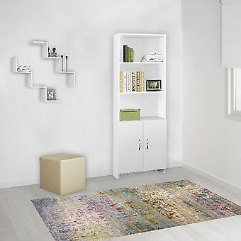 Bücherregal Galaksi, Weiße Farbe aus Melaminspäne, Metall, L56xP22,1xA169 cm