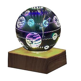 3d Crystal Ball Night Light, Glass Ball With Color Led Base(Style2)