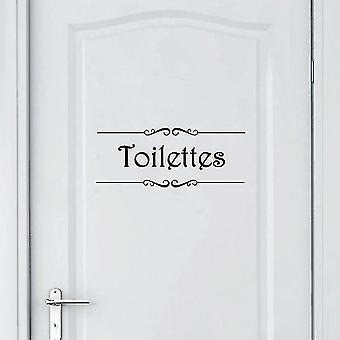 French Bathroom Toilettes Vinyl Wall Sticker - Toilet Door Sticker Mural Decals(Black Toilettes)
