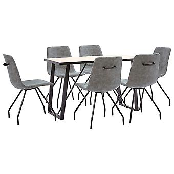 vidaXL 7 pcs. Dining group dark grey imitation leather