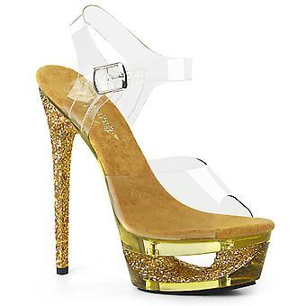 Pleaser zapatos para mujer eclipsan-608GT clr/oro multicolor teñido de brillo