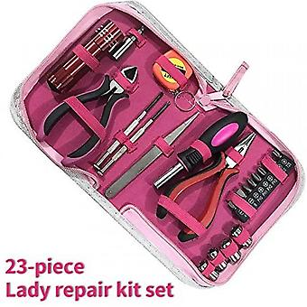 23pcs Women's Pink Tool Set With Pink Nylon Storage Case For Diy And Home Repair, Office