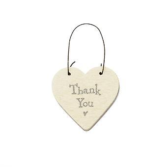 Thank You - Mini Wooden Hanging Heart - Cracker Filler Gift