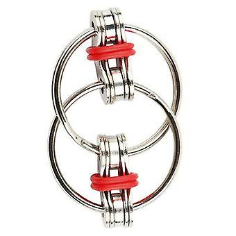 (červená) Fidget Bike Chain Ring Finger Spinner Úleva od stresu Dítě ADHD Autismus Smyslová hračka