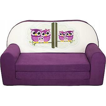 Divano letto per bambini - divano - viola - materasso per gli ospiti - 85 x 60 - gufo