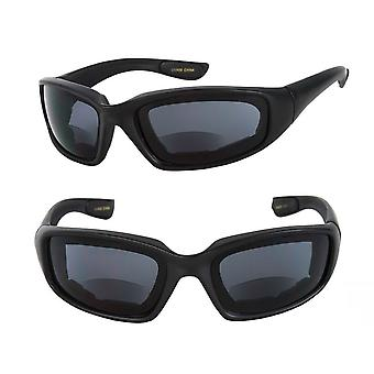 2 Pair of Motorcycle Bifocal Sunglasses - EVA Safety Goggles with Foam Padding for Men and Women - Black - 3.00