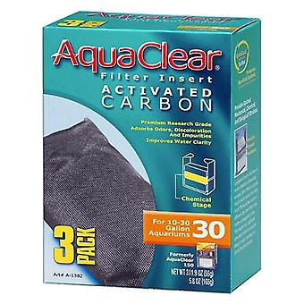 Aquaclear Activated Carbon Filter Inserts - Size 30 - 3 count