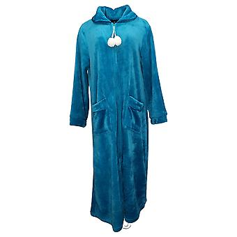 Soft & Cozy Women's Long Sleeves Half Zippered Robe w/Pkts Blue 620698