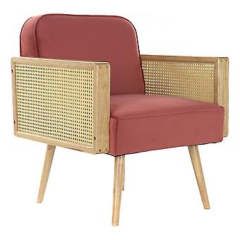 Armchair DKD Home Decor Red Polyester Rattan (66 x 64 x 79 cm)