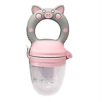 High quality scandinavian style non toxic toddler pacifier feeder and nibbler(Pink Pig L)