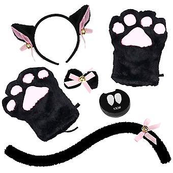 5 Kpl Cat Cosplay puku asettaa kissa korva ja häntä kauluksen tassut käsineet