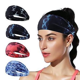 4pcs Fast Dry Yoga Sports Headband Moisture Wicking Fitness Hair Band