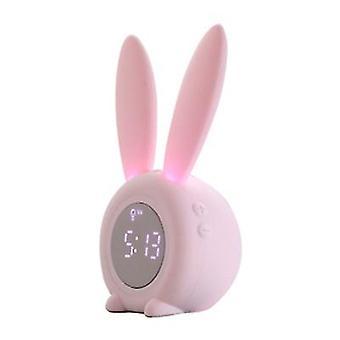 Caraele Led Desktop Electronic Clock Cartoon Rabbit Alarm Clock With Breathing Night Light