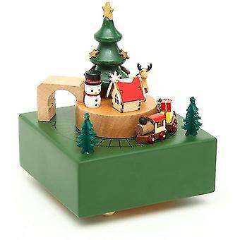 Drewniany Music Box Drewno Rzeźbione Mechanizm Musical Box Wind Up Music Box z ruchomym pociągiem Diy Drewniany Music Box