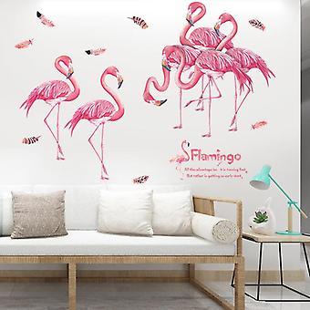 Pink Flamingos Naklejki ścienne Naklejki Naklejki Dla dzieci Sypialnia Decor Tapety