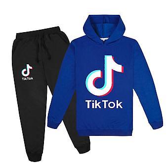 Darkblue Douyin Băieți și fete Hoodie + Pantaloni pulover Set