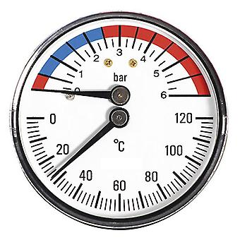 """63mm 0-6bar 0-120C Thermo Pressure Gauge 1/2"""" BSP Rear Entry Manometer"""