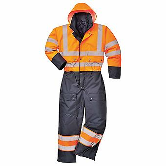 Portwest - Hi-Vis Safety Workwear Contrast Coverall Boilersuit With Hood
