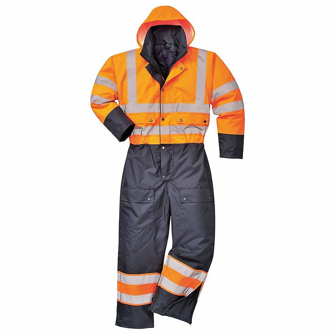 sUw - Hi-Vis Safety Workwear Contrast Coverall Boilersuit With Hood