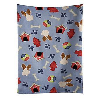 Dog House Collection Papillon Red White Kitchen Towel
