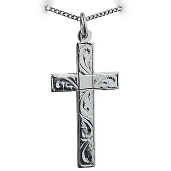 Zilveren 34x19mm hand gegraveerde platte Latijns kruis met een stoeprand keten 24 inch